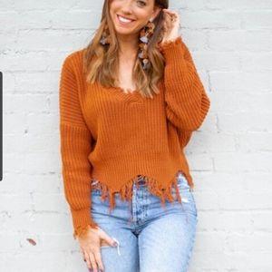 Raw hem/ fringe v neck drop shoulder sweater fall
